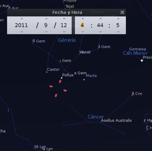"""Posición del cometa ISON en septiembre de 2011 cuando fue descubierto. """"no lejos de Cáncer, cerca de Pólux y Cástor..."""""""